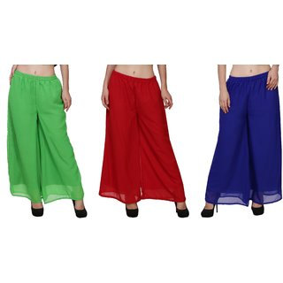 BuyNewTrend Green Maroon Royal Blue Plain Georgette Palazzo Pant For Women (Pack of 3)