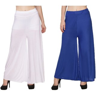 BuyNewTrend White Royal Blue Plain Lycra Palazzo Pant For Women (Pack of 2)