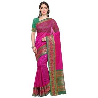 TexStile sarees womens Party wear Designer Sarees with Blouse Pieces(pink Peacock sari )