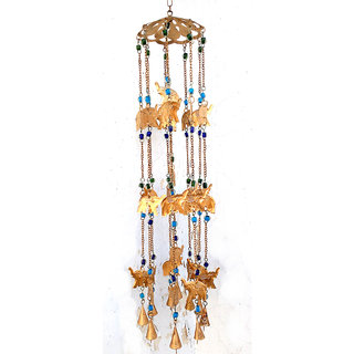 Phirk Craft Iron Elephant Wind Chime with Decorative Beads
