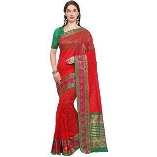 TexStile sarees womens Party wear Designer Sarees with Blouse Pieces(Red bear Sari )