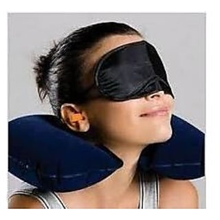 Three Tourists Treasures Black Neck Pillow Cushion Car,Ear Plugs, Eye Mask Sets