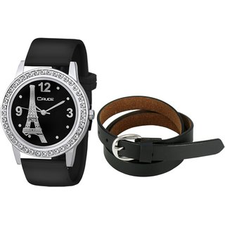 Crude Combo of Analog black Dial Watch-rg729 With black Leather belt