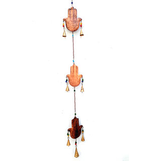 Phirk Craft Palm Iron Hanging Bell in Copper