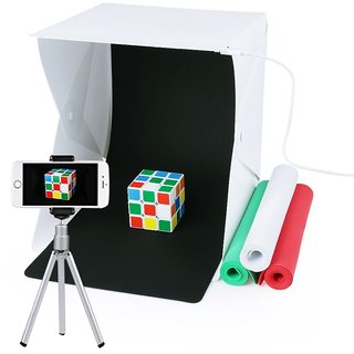 Gadget Hero's Mini Portable Photo Studio. Folding Table Top LED Light Box With 4 Backdrops