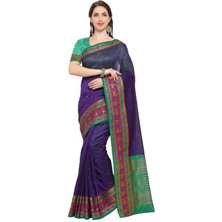 TexStile sarees womens Party wear Designer Sarees with Blouse Pieces(silver Blue Bear Sari )
