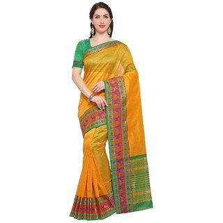 TexStile sarees womens Party wear Designer Sarees with Blouse Pieces(Yellow bear SAri )