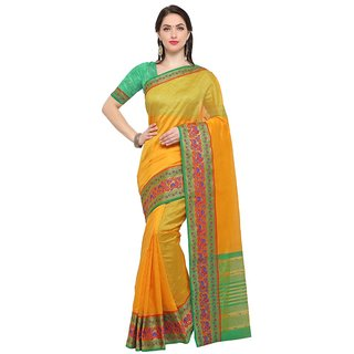 TexStile sarees womens Party wear Designer Sarees with Blouse Pieces(Yellow Pink Elephant Sari )