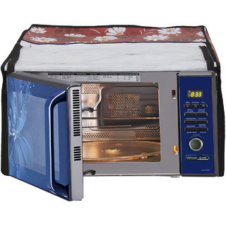 Buy Glassiano Red White Flower Printed Microwave Oven