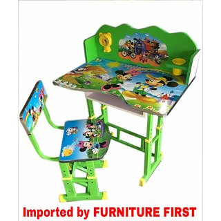 Furniture First Mickey Mouse Green Kids Study Table Chair Set For Age 3 10 Years Imported By