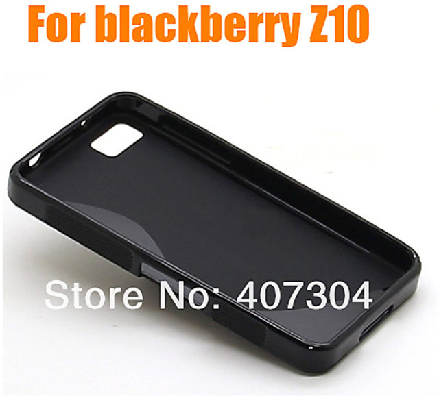 S-line wave Silicone Soft Cover Case For BlackBerry 10, Z10 BB10 Black