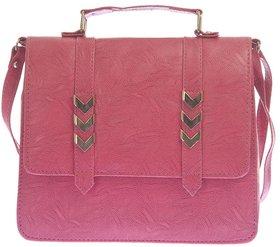 Envie Faux Leather Pink Solid Sling Bag