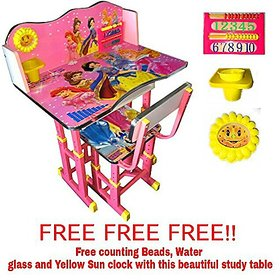 FURNITURE FIRST-AMERICAN BARBIE PINK Kids Study Table  Chair Set for Kids Age 3-10 Years,Imported By Furniture First