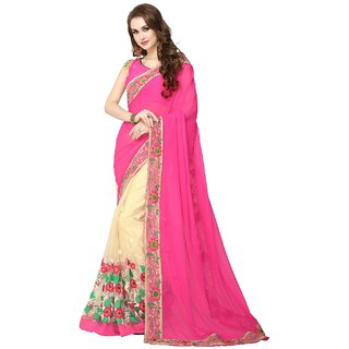 CRAZYDDEAL Pink and Cream Georgette Embroidered Saree With Blouse