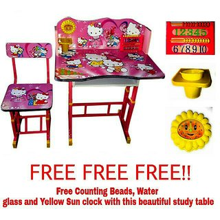 FURNITURE FIRST-HELLO KITTY Kids Study Table and Chair Set for Kids Age 3-10 Years,Imported By Furniture First