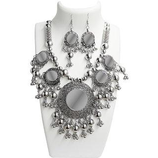 Jewelmaze Navratri Special Rhodium Plated Necklace Set -1110825