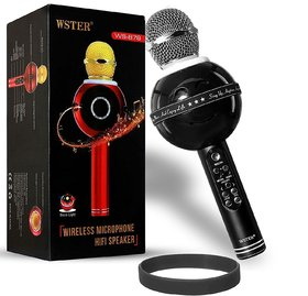 Finbar WS-878 Wireless Bluetooth WS-878 Microphone MIC Recording Condenser Handheld Microphone Stand W/ Speaker for Cell