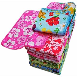 Milap Floral Face Towels Cum Hanky Set of 12