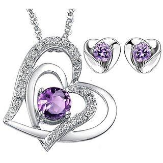 RM Jewellers 92.5 Sterling Silver American Diamond Loving Pendant Set For Women ( RMJPS88866 )