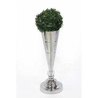 Big silver flower vase