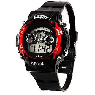 TESLO Sport Digital Round Dial Sport Style Trendy Rubber Streap RED Color Digital System Watch For Boys And Childrens And Men 3 MONTH WARRANTY