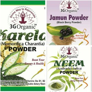 Anti Diabetes Kit with Pure Karela Neem Jamun, No Chemical, No preservatives 300 Gms From 3G Organic