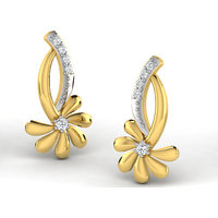 Sparkles Presents Diamond Earrings In 18 Kt Gold & Real Diamonds. Gr Wght 1.528 Grms, Diam Wght 0.07 Crts.