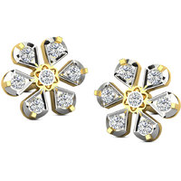 Sparkles Presents Diamond Earrings In 18 Kt Gold & Real Diamonds. Gr Wght 3.2 Grms, Diam Wght 0.55 Crts.