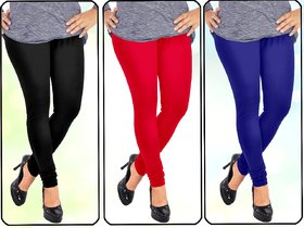 Being Lady Leggings Pack of 3(Black,Red,Blue)