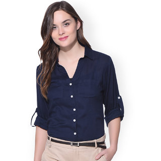 f32f2adf1 Buy Shree navy blue Formal Cotton Shirt for Women Online @ ₹599 ...