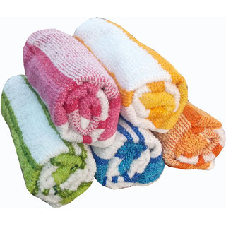 xy decor Cotton White,Yellow,Blue Hand Towels (11X16 Inch) Combo Of 5