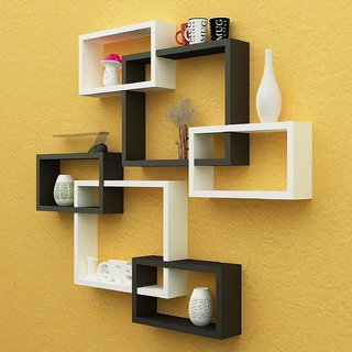 Santosha Decor Wall Decoration Shelf Rack Set Of 6 Intersecting Floating  Shelves   Storage Wall Shelves (Black White)