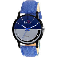 Radius Casual Round Blue  Black Fabric Analog Water Resistant Watch For Men