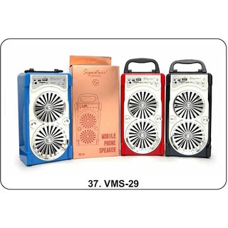Signature VMS-29 Bluetooth Speaker With Aux MMC and Pendrive Compatible (Assorted Colors)