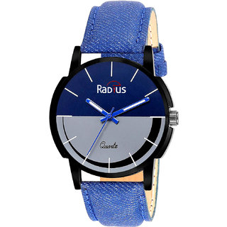 IndiaShop No 1 Radius Casual Round Blue Black Fabric Analog Water Resistant Watch For Men