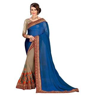 Aashvi Creation Turquoise Georgette Saree