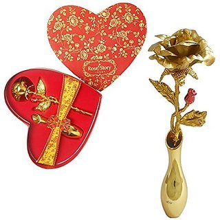 Special 24k Gold with Gift Box Gold Rose Artificial Flower with Pot (10 inch Pack of 1)