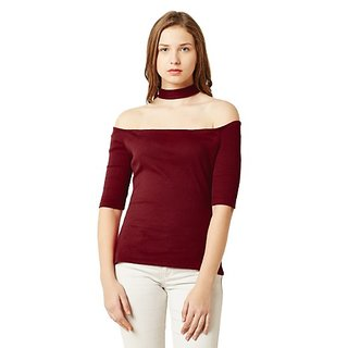 d389993042b7c Miss Chase Women s Maroon Cotton Off Shoulder Half Sleeve Solid Ribbed  Choker Style Bardot Top