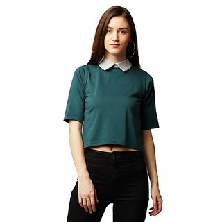 b7e0d8f160a3ae Miss Chase Women s Green Collar Neck Half Sleeve Solid Buttoned Grey  Collared Crop Top