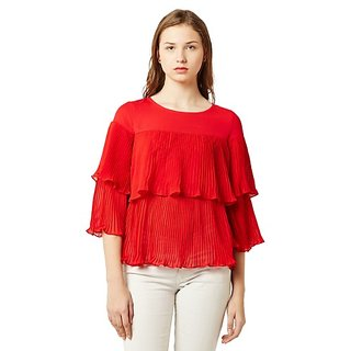 5cf5dc9f23db7 Miss Chase Women s Red Round Neck 3 4 Sleeve Solid Layered Pleated Ruffled  Semi Sheer