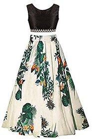 Women Wed Multi Printed Designer Kids Party Wear Lehenga KCrepe (8-12)