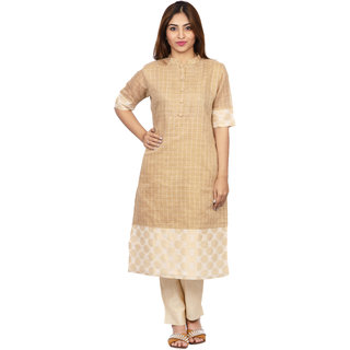 Sahila Creation Women's Checkered Kurti - Biege