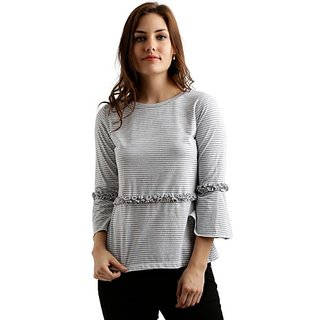 0e8fc4612323d Miss Chase Women's Grey And White Round Neck 3/4 Sleeve Cotton Striped  Ruffled Frilled