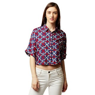 Miss Chase Women's Multicolored Round Neck Half Sleeve Buttoned Boxy Printed Collared Crop Shirt
