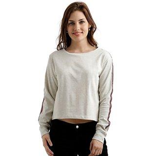 Miss Chase Women's Off White Round Neck Full Sleeve Solid Boxy Sweatshirt