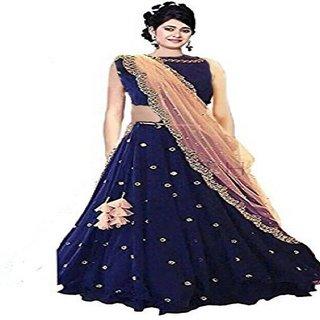 Women Wed Blue Embroidered Women's Party Wear Lehenga Choli(WW-RimzimBlue-Free Size )