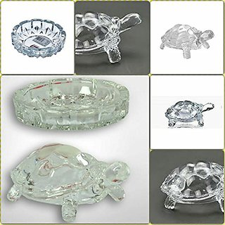 tortoise house Glass Crystal Tortoise in Plate 5x5 inch Fang Shui Vastu Set - Best Gift for Career and Luck bes