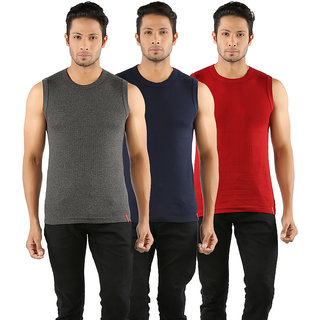 Solo Mens Designer Round Neck Cotton Muscle Tee Vest Casual Sleeveless (Pack of 3)