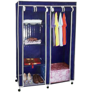 Double Door Collapsible Wardrobe with High Qualtiy Metal Frame K448-Blue