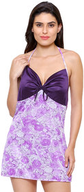 Klamotten Printed Satin Halter Neck Purple Women Babydoll Nightwear